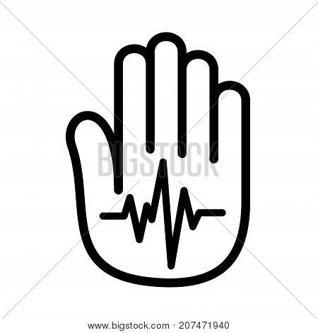 Hand open palm heartbeat pulse logo icon. Outline illustration of hand with heartbeat pulse vector illustration for print or web design.