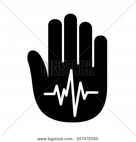 Hand open palm heartbeat pulse logo icon. Simple illustration of hand with heartbeat pulse vector illustration for print or web design.
