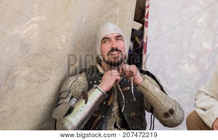 Participant Of Annual Knights Festival In Jerusalem. Israel