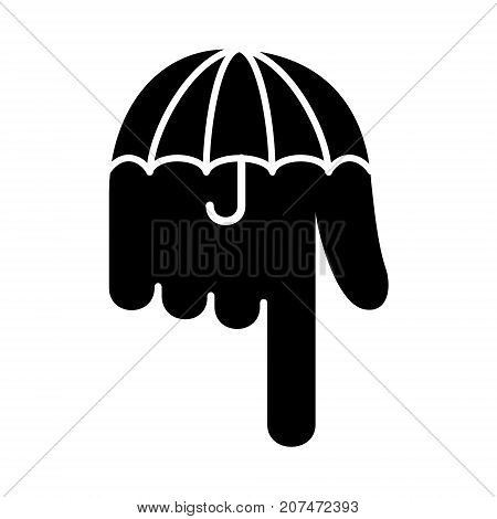 Umbrella hand pointer down logo icon. Simple illustration of umbrella hand pointer down vector illustration for print or web design.