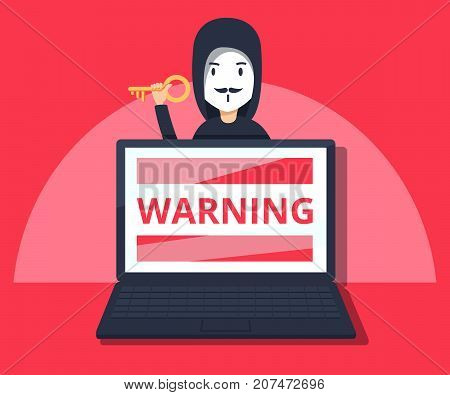 Hacker in mask stealing information on laptop. Flat style vector illustration. Hacking phishing attack. Flat vector illustration of young hacker hack protection system.
