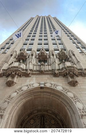 Bottom View Of The Tribune Tower In Chicago