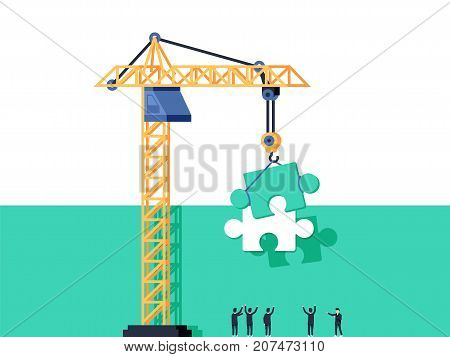 Completion mission concept. Businessman standing with back govern the crane holding puzzle and putting in jigsaw. Business metaphor. Vector illustration flat design. Successful implementation plan. Execute plan.