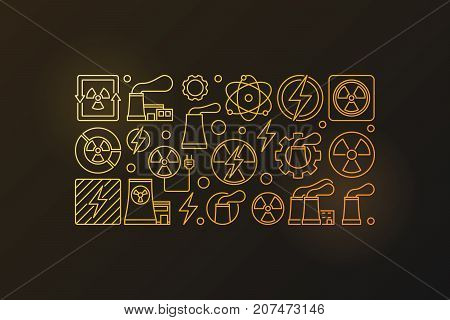 Nuclear power colorful illustration. Vector golden nuclear energy modern banner in thin line style