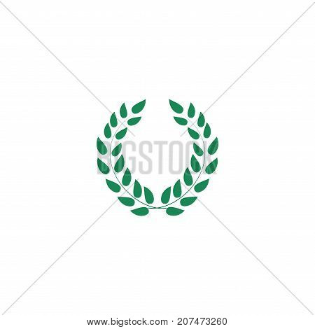 Laurel wreath reward. Modern symbol of victory and award achievement champion. Leaf ceremony awarding of winner tournament. Colorful template for badge tag. Design element. Vector illustration