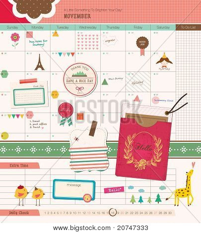 Beautiful Scrapbook Elements - GIrl Diary. Perfect for Scrapbook, Sticker, Photo. Vector Illustratio