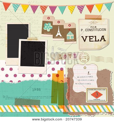 Vintage Design Elements for Scrapbook