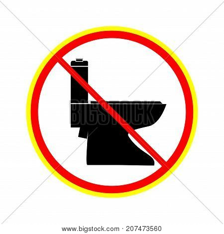 No toilet icon in red circle on white background. Symbol warning no do toilet. Isolated design graphic element. Flat vector image. Template for sign poster. Design element. Vector illustration.