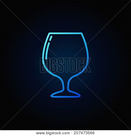 Brandy or cognac glass linear blue vector icon or design element on dark background