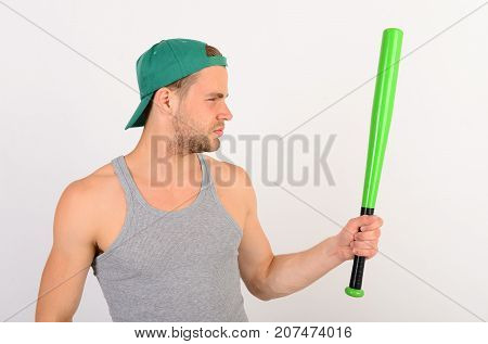 Player With Serious Face Plays Baseball. Sports And Baseball Training