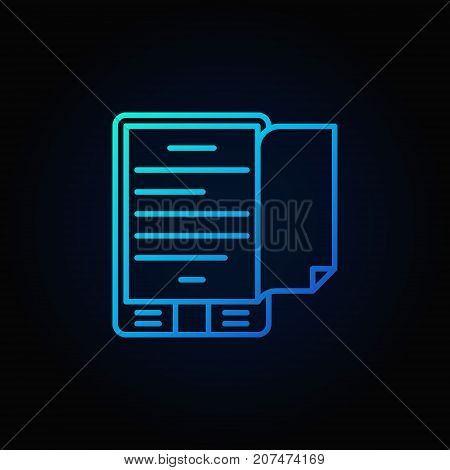 Blue e-book reader concept thin line icon or logo element on dark background