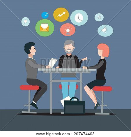 Group of entrepreneurs discussing sales and revenue strategies for a new project. Startup project business partners meeting concept illustration vector.