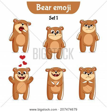 Set kit collection sticker emoji emoticon emotion vector isolated illustration happy character sweet, cute brown bear