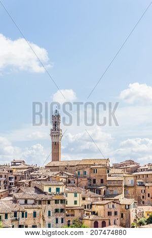 View On The Tower Of Town Hall In Italian Siena