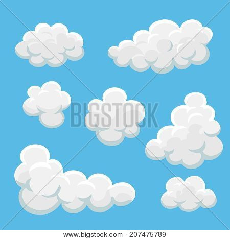 Cartoon clouds set on a blue background vector