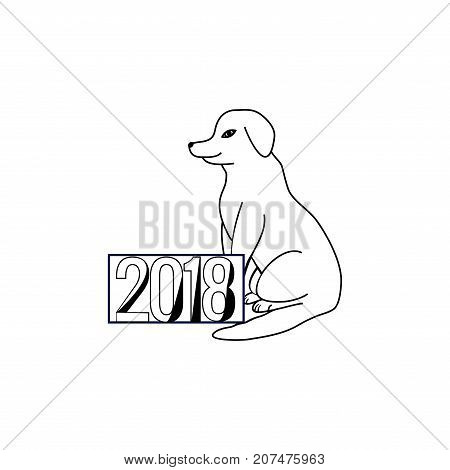 Dog is a symbol of the 2018 Chine New Year. Fashion graphic background design. Modern stylish abstract texture. Monochrome template for prints textiles wrapping wallpaper etc. Vector illustration