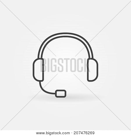 Headset outline icon - vector customer service concept symbol or design element in thin line style