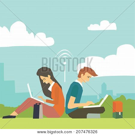 Young business couple sitting in green park and working with laptops. Work from anywhere wireless internet concept illustration vector.