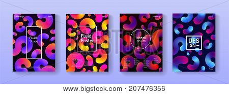 Set Of Abstract Futuristic Posters With Fluid Shapes. Collections Of Banners, Placards And Covers. B