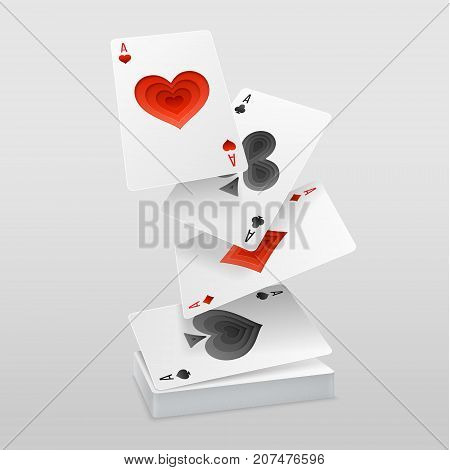 Vector set of four aces playing cards fall on the card deck. Suits with paper art decoration.