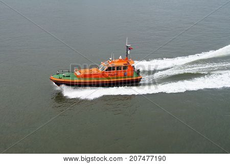 North Shields, United Kingdom - April 28, 2017: Pilot boat Collingwood passing by in the Port of Tyne in the city of North Shields.