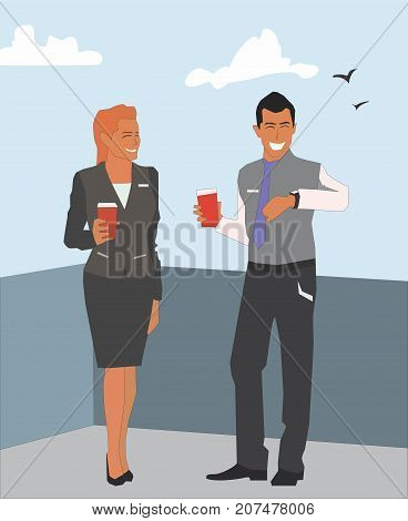 Business people having break on office terrace outdoor drinking coffee talking. Office tea break concept illustration vector.