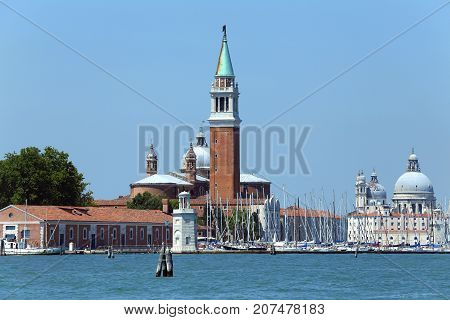 Venice Italy Bell Tower Of Saint George Church And The Dome Of T