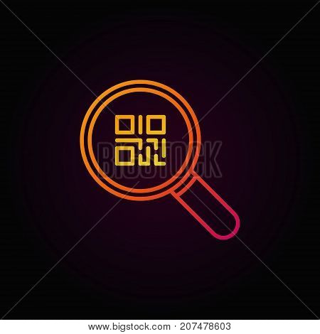Colorful QR code in magnifying glass icon or symbol in thin line style on dark background