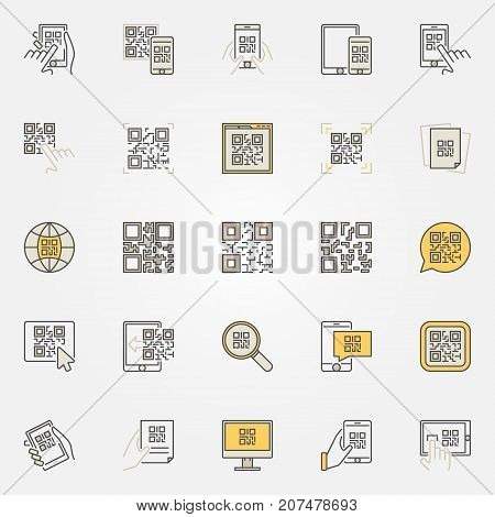 QR Code colorful icons set - vector code scanning creative signs or design elements. Smartphone quick response code symbols