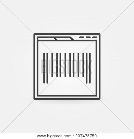 Webpage with barcode concept icon or symbol in thin line style
