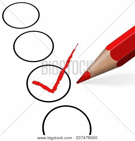 Pencil With Red Check Mark
