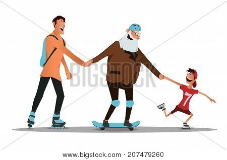 An elderly man learn to ride a skateboard with his son and grandson