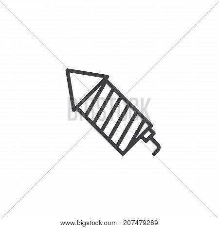 Fireworks rocket line icon, outline vector sign, linear style pictogram isolated on white. Symbol, logo illustration. Editable stroke