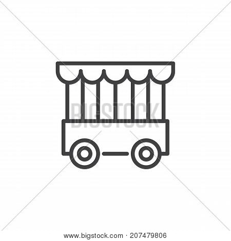 Mobile animal cage line icon, outline vector sign, linear style pictogram isolated on white. Symbol, logo illustration. Editable stroke