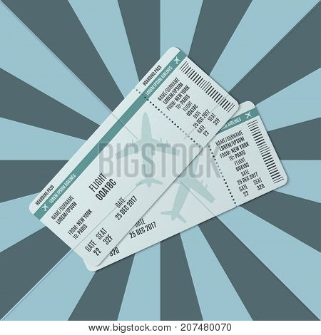 Airline ticket on the background of the rays. Vector illustration