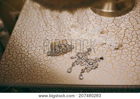 Wedding Jewelry, White Earrings And Bracelet Bride, Wedding Ceremony, The Bride's Morning, Preparing