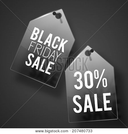 Two black friday sale tag set on wall with shadows and white texts vector illustration