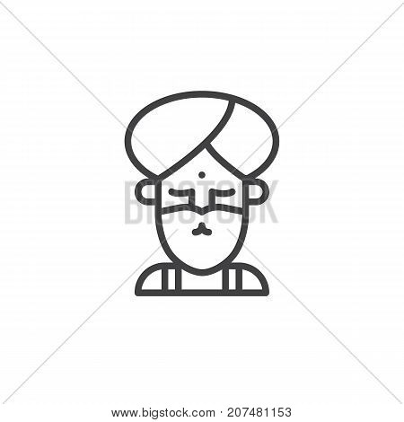 Fakir circus actor line icon, outline vector sign, linear style pictogram isolated on white. Symbol, logo illustration. Editable stroke