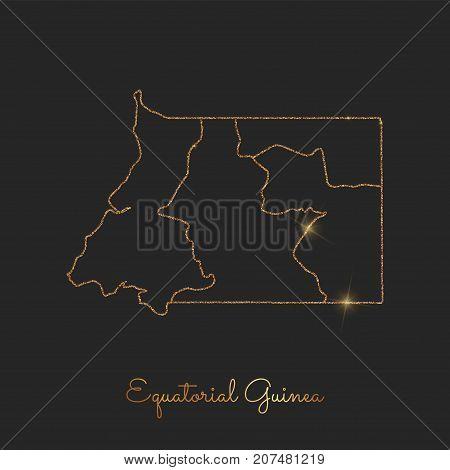 Equatorial Guinea Region Map: Golden Glitter Outline With Sparkling Stars On Dark Background. Detail