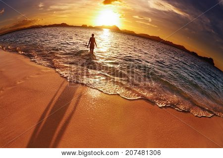 Tropical beach at sunset, El-Nido, Philippines, fisheye shot