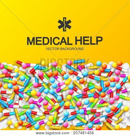 Abstract healthy medical background with colorful capsules remedies pills and drugs vector illustration
