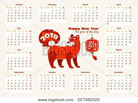 Calendar 2018 with red dog on light wavy textured background with traditional hieroglyph. Vector illustration. Chinese zodiac sign - Dog the symbol of 2018 New Year. Calendar template with week starts monday