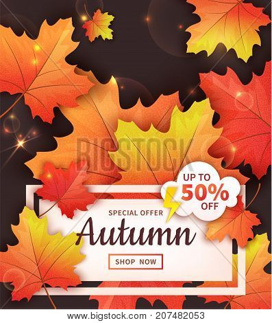 Sale banner with bright autumn leaves on dark background. Vector illustration. Falling colorful maple leaves. Special offer up to 50% off. Template for poster, flyer, card, leaflet design.