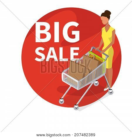 Big Sale vector concept. Vector woman carry shopping cart. A woman with a full shopping cart. -stock vector