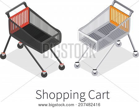 Isometric vector shopping trolley cart. Vector empty supermarket trolley isolated. - stock vector