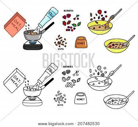 Recipe Oatmeal vector diy instruction illustration sketch meal food