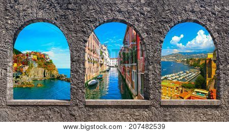 The collage from photos of Italy. The landscapes of Manarola at Cinque Terre, Venice, Sorrento through old stone arches