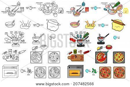 Recipe Pizza vector diy instruction manual illustration sketch meal food