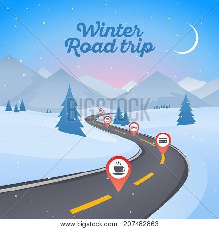 Winter snowy landscape with winding road pathway. New Year background. Vector illustration