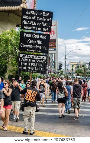 Religion Transparents On Las Vegas Main Boulevard